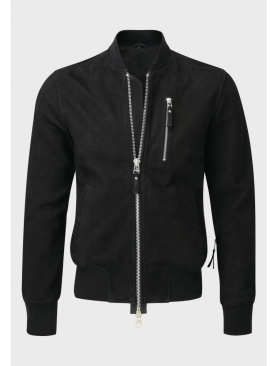 Mens Bomber black sheep nubuck leather jacket