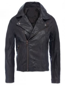 Mens Black cowhide crinkle leather jacket