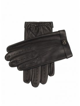 Black sheep leather gloves with small belt