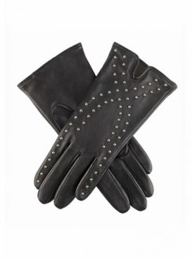 Black sheep leather studded fashion gloves