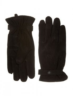 Dark brown goat suede leather winter gloves