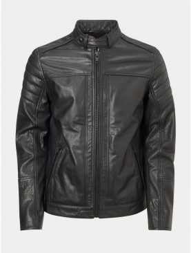 Mens Black Buffalo glaze leather collar strapped jacket