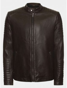 Mens oldman padded dark brown sheep leather jacket