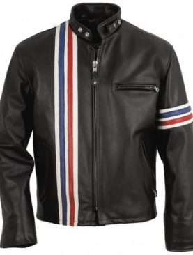 Mens US Style Black cowhide aniline leather biker jacket