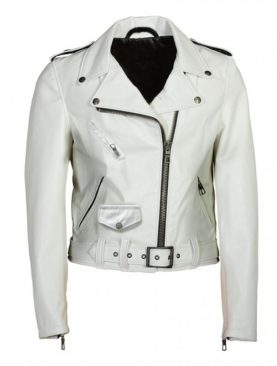 Ladies DJ Brando white sheep nappa leather jacket
