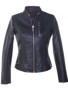Ladies fashion black sheep leather with three zipper front pockets