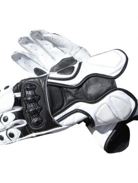 Motorbike Black and white real carbon cowhide leather gloves