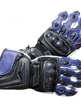 Motorbike Blue & Black Cowhide Leather Gloves with real carbon