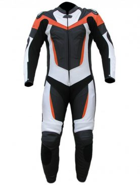 Mens motorbike cowhide milled leather black white and orange suit