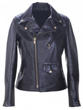 Ladies Black Cowhide Jacket With Flap And Zipper Pockets