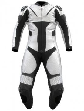 Mens motorbike cowhide milled leather white one piece suit
