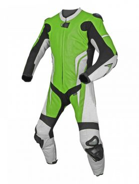 Mens motorbike one piece cowhide milled white and green leather suit