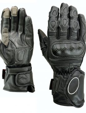 Leather Winter Motorbike Gloves Carbon Fiber Knuckles
