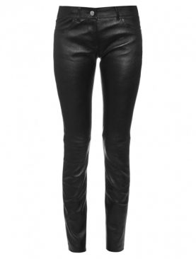 Ladies black cowhide aniline leather trouser