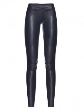 Ladies black cowhide leather conceal stitched trouser