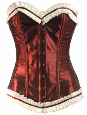 Long Line overbust Burgundy silk cream trim steel boned corset