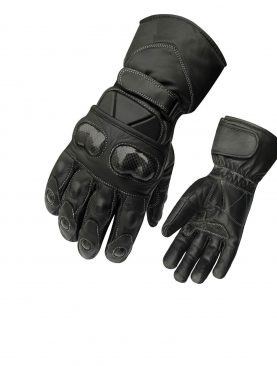 Protective Carbon Knuckles Leather Motorbike Gloves