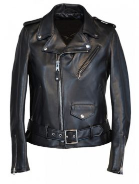 Ladies biker cowhide black leather jacket with belt on bottom