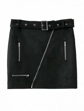 Black Suede High Waist pencil Mini Skirt