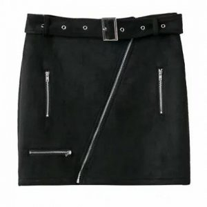 Black Faux Suede High Waist Asymmetric Zip Pencil Mini Skirt