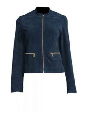 Blue goat suede leather double front pockets ladies jacket