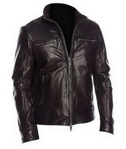 Mens-Black-Four-Pockets-Classic-Biker-Leather-Jacket