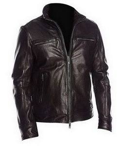 Mens Black Four Pockets Classic Leather Jacket