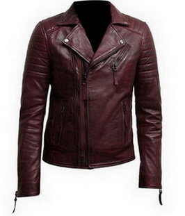 Mens Burgundy Color Biker Style Leather Jacket