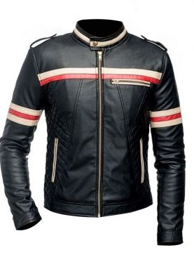 Mens Red And White Striped Black Motorcycle Jacket