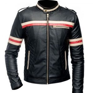 Mens-Red-And-White-Striped-Black-Motorcycle-Jacket