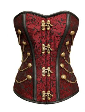 Red Brocade Steel Boned Corset With Chains