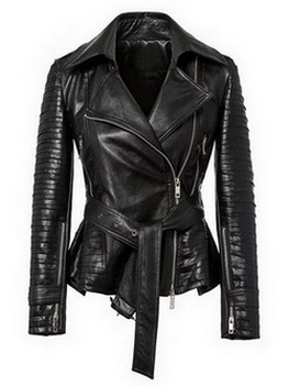 Ladies biker black cow hide leather jacket