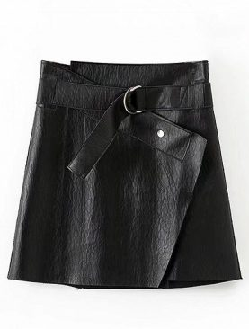 Black Leather D-Ring Belt Mini Skirt