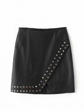 Black High Waist Stud Detail Leather  Pencil Mini Skirt
