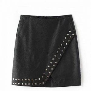 black high waist stud detail leather pencil mini skirt