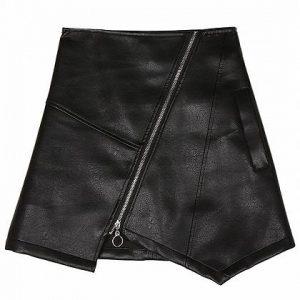 black high waist zip front leather mini skirt