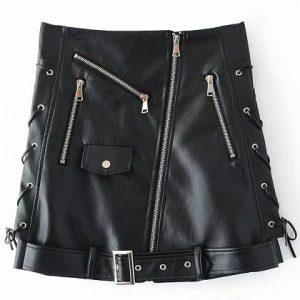 black zip front lace up side buckle belt skirt