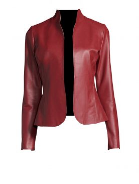 Ladies Burgundy Sheep Leather Blazer