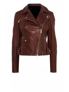 Ladies Burgundy Buffalo Glaze Leather Jacket