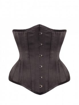 Long Line Black Satin Underbust Corset