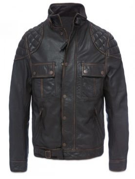 Mens Padding Rubb-Off Cowhide Dark Brown Leather Jacket