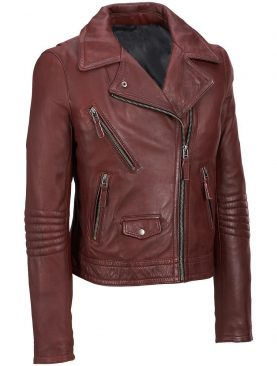 Ladies brando styles burgandy sheep washed and waxed leather jacket