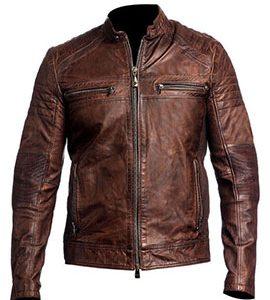 Mens Vintage Biker Style Distressed Brown Leather Jacket 11