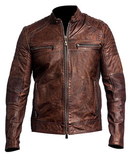 Mens Vintage Biker Style Distressed Brown Leather Jacket 11