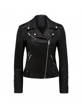 Ladies Cowhide Leather Motorway Style Jacket