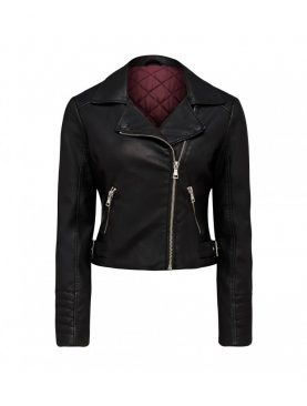 Ladies Cowhide Leather Biker Style Jacket