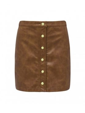 Brown Leather Button Down Skirt