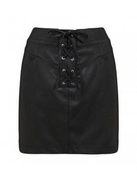 Black High Waist Lace Up Mini Skirt