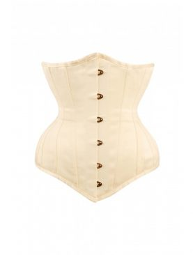 Cream Satin Steel Boned Underbust Corset