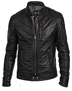Mens Black Cowhide Leather Biker Jacket